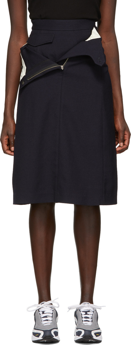 Shushu/Tong Navy Wool Double Layer Skirt