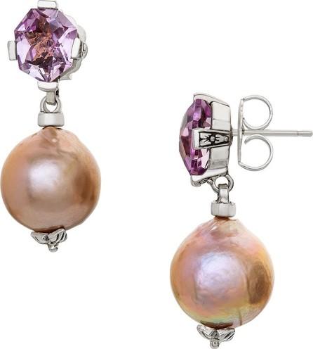Stephen Dweck Amethyst & Pearl Drop Earrings