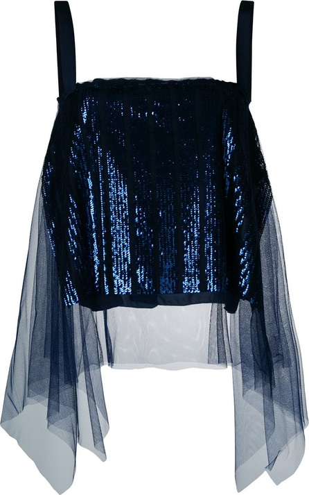 Aviu Tulle-panelled sequinned top