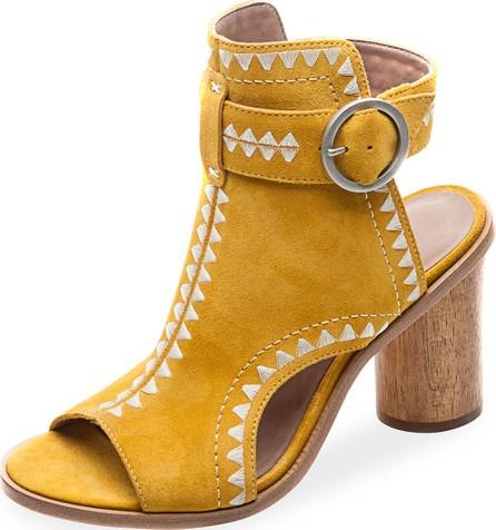 Bernardo Harper  Embroidered Suede Sandals