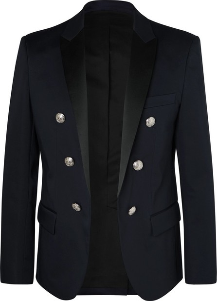 Balmain Navy Slim-Fit Double-Breasted Satin-Trimmed Cotton-Blend Blazer