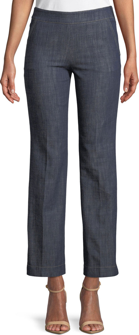 Giorgio Armani Straight-Leg Crop Denim Trousers with Side Zip