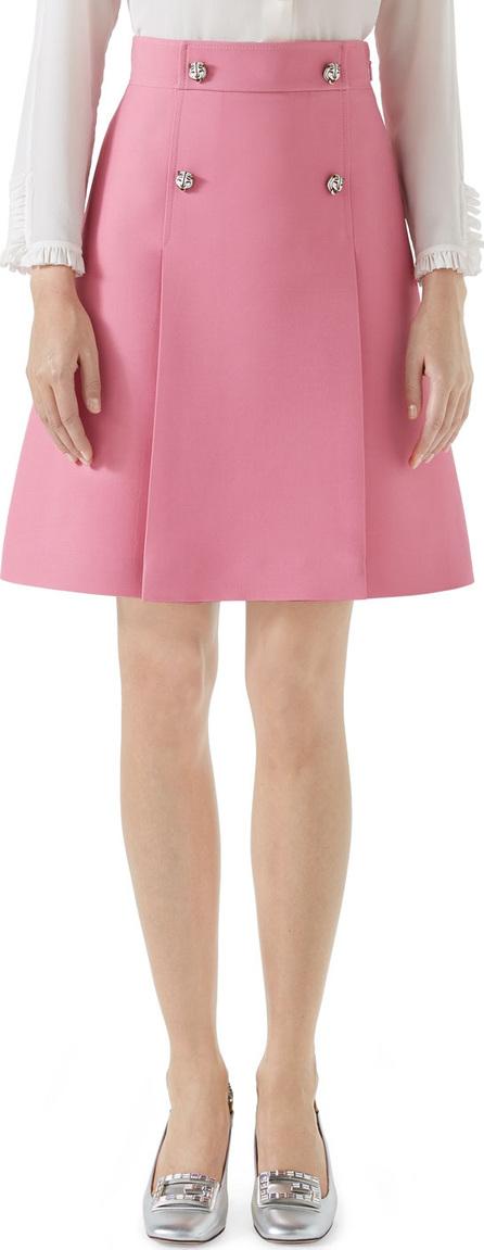 Gucci High-Waist A-Line Cady Crepe Wool Silk Skirt