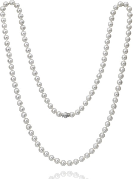 """Assael Short Akoya Graduated Pearl-Strand Necklace w/ 18k White Gold, 18""""L"""