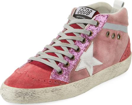 Golden Goose Deluxe Brand Mid-Top Star Glitter Sneaker, Pink/White