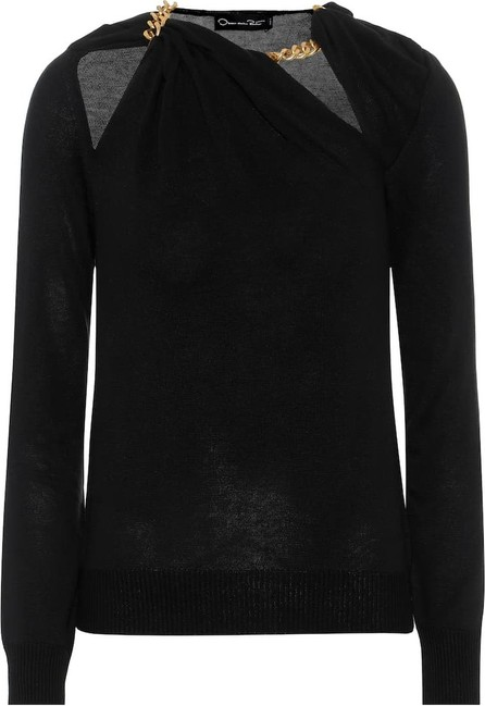 Oscar De La Renta Chain-trimmed silk sweater