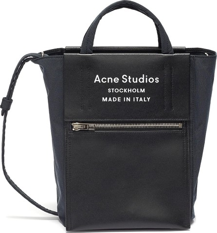 Acne Studios Logo zip pocket leather panelled small tote bag