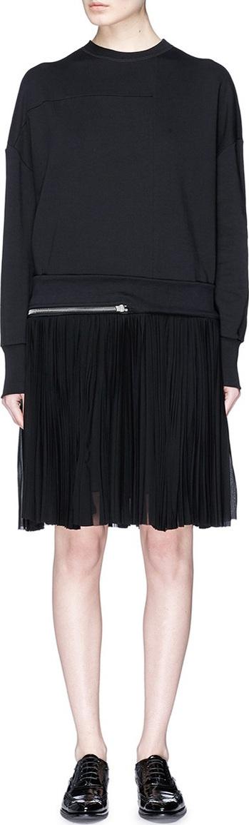 Alexander McQueen Pleated skirt zip hem sweatshirt dress