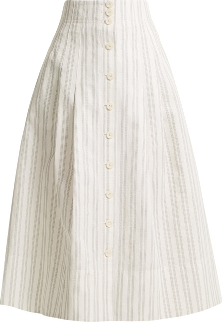 Rebecca Taylor Striped cotton and linen-blend skirt