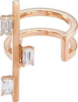 Dauphin 'Disruptive' emerald cut diamond 18k rose gold bar open ring