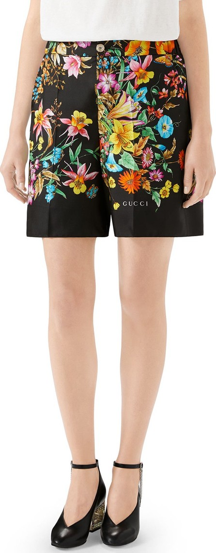 Gucci Bouquet Carre Silk Twill Shorts