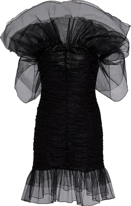 Alessandra Rich Off-The-Shoulder Tulle and Lace Mini Dress