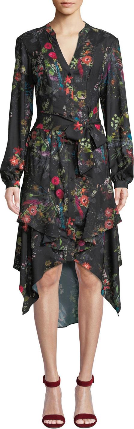 Parker Estella Floral Button-Front Ruffle Midi Dress