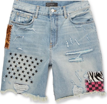 Amiri Panelled Distressed Denim Shorts