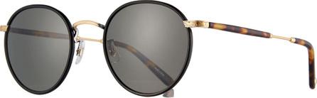 GARRETT LEIGHT Wilson Round Filigree Sunglasses, Black