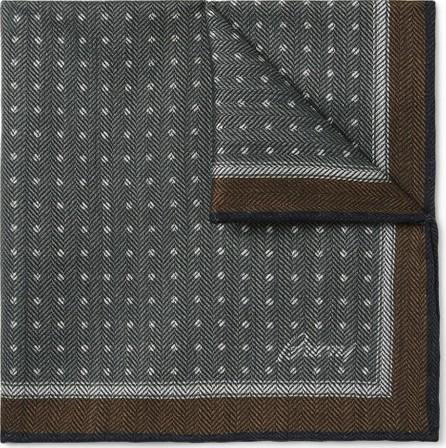 Brioni Polka-Dot Herringbone Wool and Silk-Blend Pocket Square