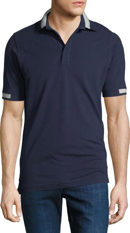 Kiton Men's Piqué Knit Cotton Polo Shirt, Navy Blue