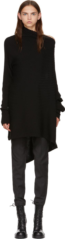 Marques'Almeida Black Wool Draped Turtleneck