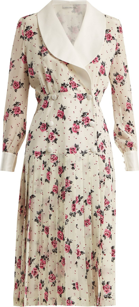 Alessandra Rich Rose-print silk crepe de Chine dress