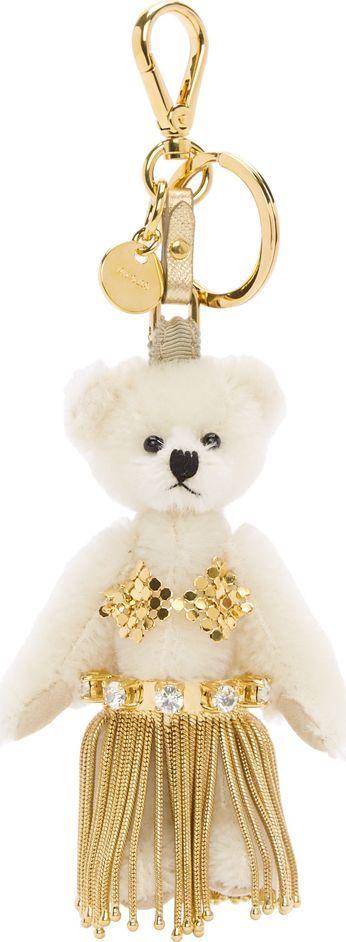 Prada White & Gold Leila Teddybear Keychain