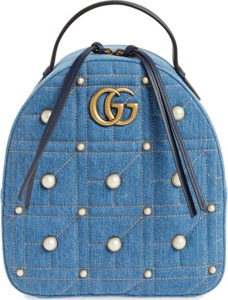 Gucci GG Marmont 2.0 Imitation Pearl Embellished Denim Backpack