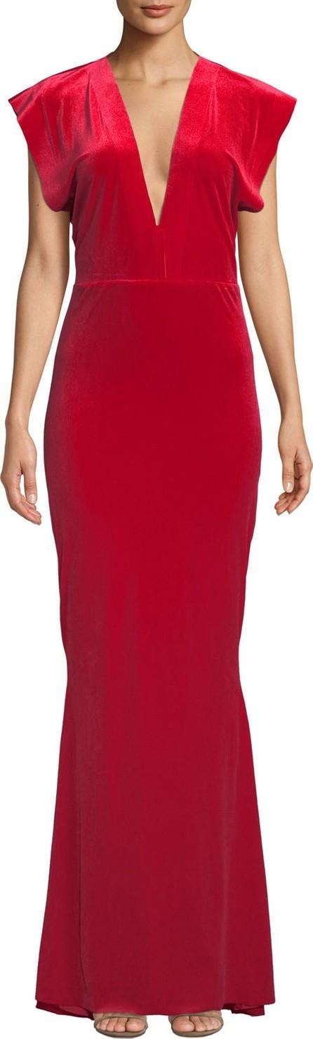 Norma Kamali V-Neck Velvet Rectangle Gown