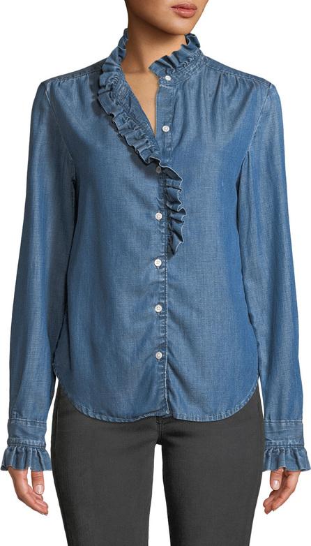 FRAME DENIM Ruffle Button-Front Denim Shirt