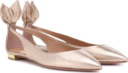 Aquazzura Deneuve metallic leather ballerinas