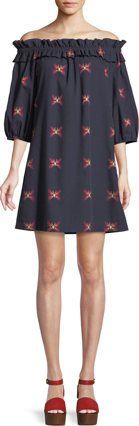 Trina Turk Anthurium Butterfly Jacquard Off-the-Shoulder Mini Dress