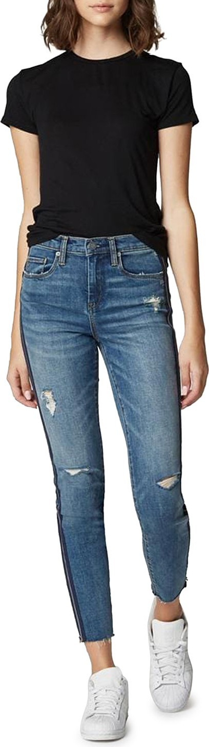 BLANKNYC The Bond Distressed Crop Skinny Jeans with Zippers