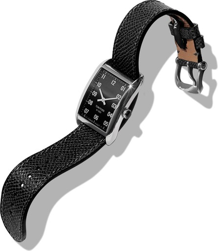 TOM FORD Men's 40x27  Pebble-Leather Medium Watch, Black/Gray