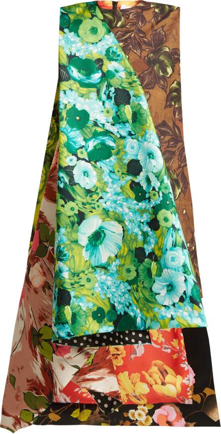 Richard Quinn Draped floral-print duchess satin dress