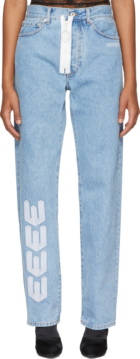 Off White Blue Embroidered Baggy Jeans