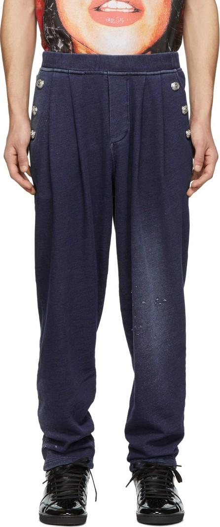 Balmain Blue Buttoned Jersey Lounge Pants