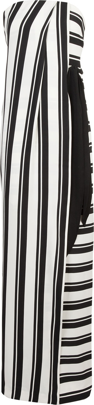 HALSTON HERITAGE Striped strapless maxi dress