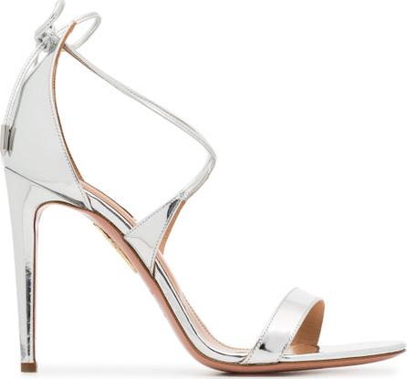 Aquazzura Metallic Linda 105 leather sandals