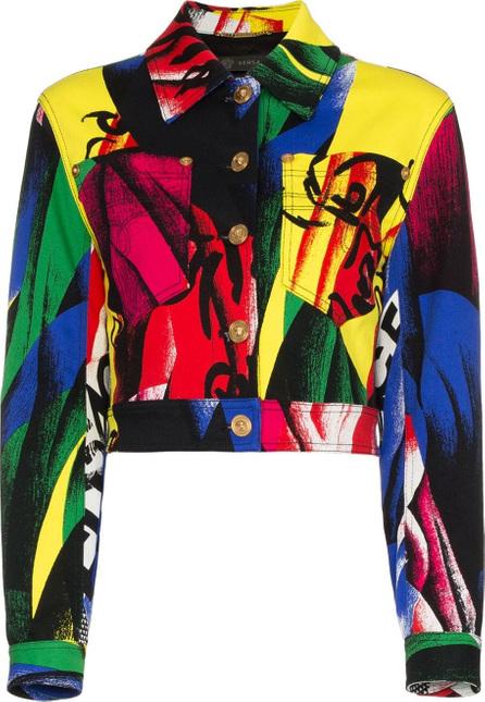 Versace Cropped print denim jacket