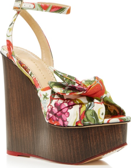 Charlotte Olympia Miranda Printed Canvas Platform Wedge Sandals