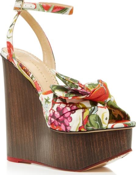 Charlotte Olympia Miranda Printed Canvas Platform Wedge Sandals