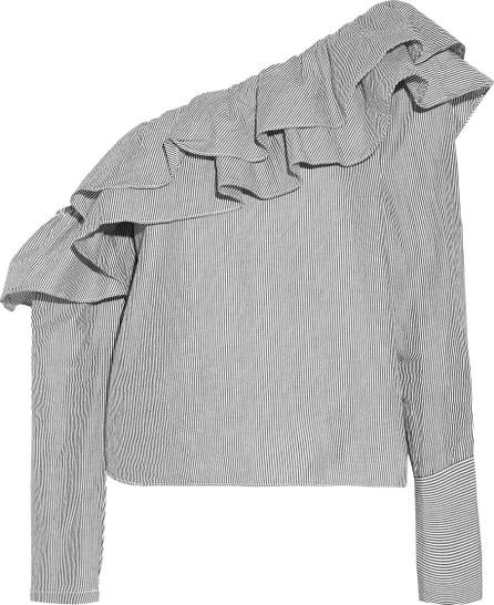 W118 by Walter Baker Dorothy one-shoulder striped cotton-poplin top