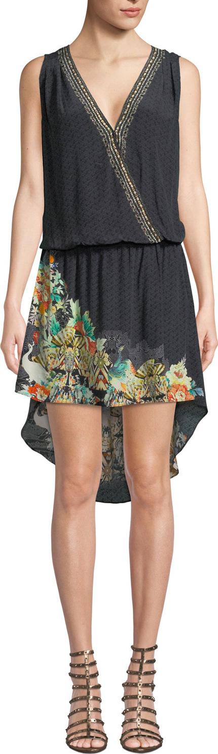 Camilla Printed Silk Crossover High-Low Short Dress
