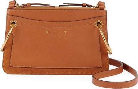 Chloe Roy Mini Leather/Suede Double-Zip Shoulder Bag