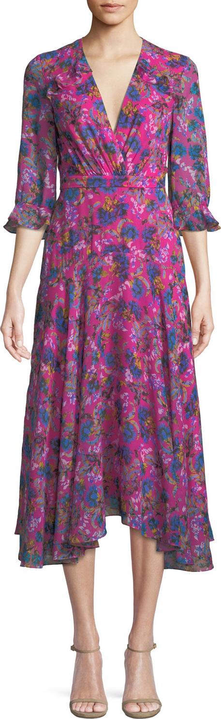Saloni - Edith V-Neck Silk Dress, Multipattern