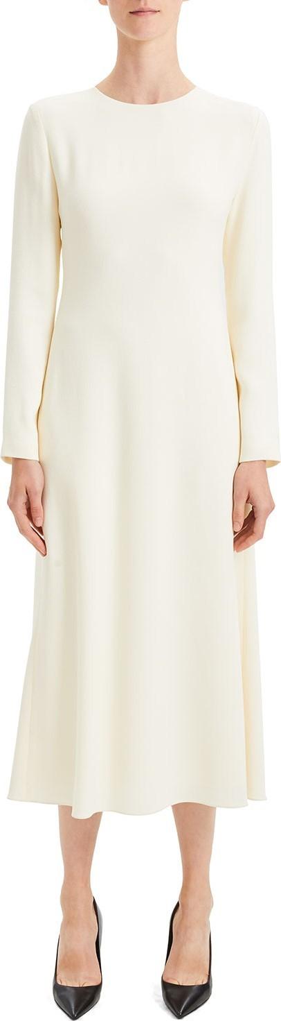 Theory Textured Viscose Cady A-Line Long-Sleeve Dress