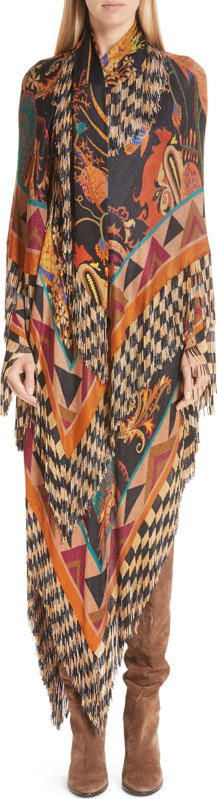 Etro Mixed Print Fringe Knit Dress