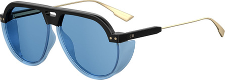 Dior DiorClub3 Round Sunglasses w/ Side Blinders