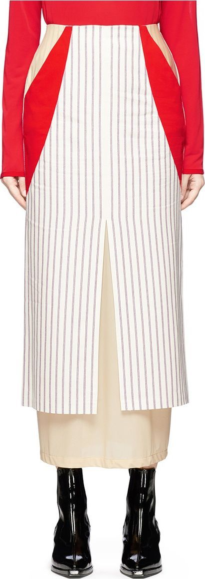 Aalto Jersey underlay stripe cotton canvas maxi pencil skirt