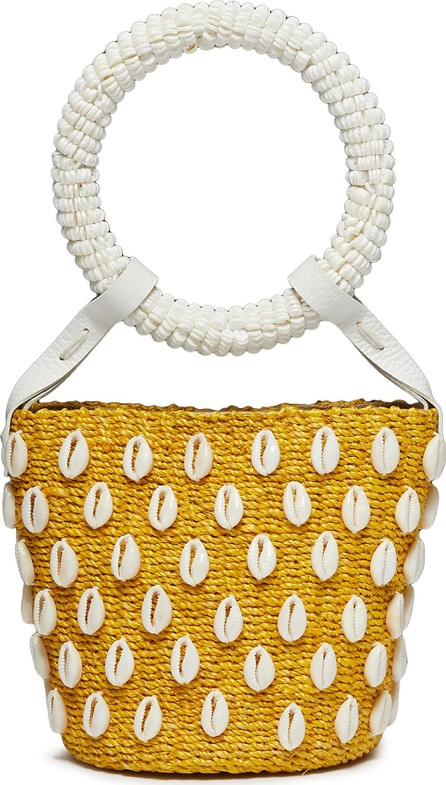 Aranaz 'Kaia' seashell mini straw bucket bag
