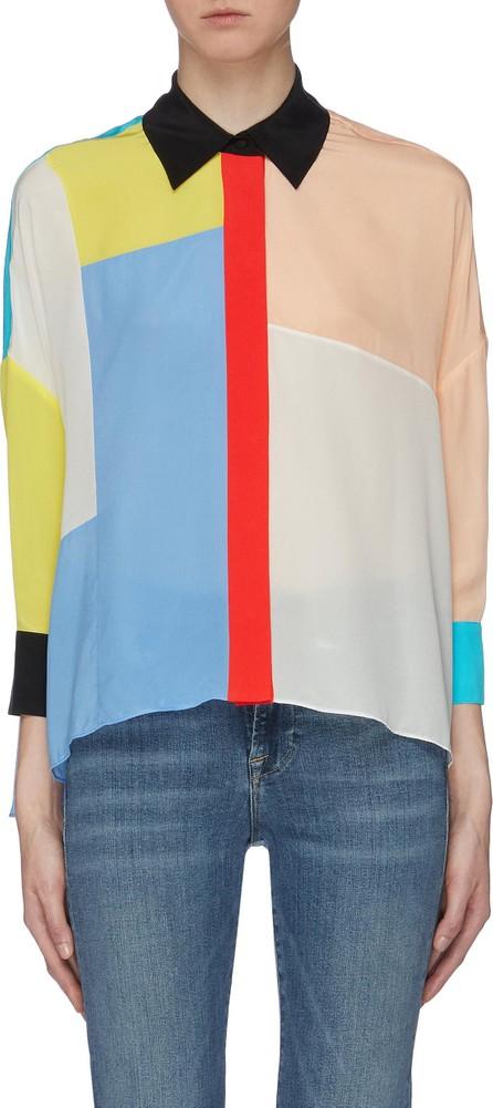 Alice + Olivia 'Shaw' colourblock patchwork silk shirt