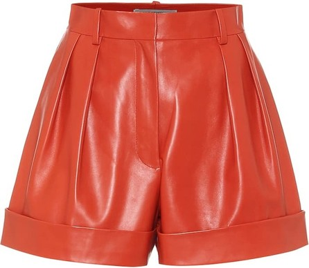Valentino High-rise leather shorts